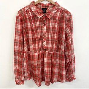 Torrid Pink Plaid Peplum Button Down Shirt